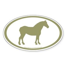 Draft Horse Oval (sage) Oval Sticker (50 pk)