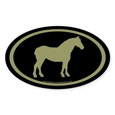 Draft Horse Oval (sage/blk) Oval Sticker