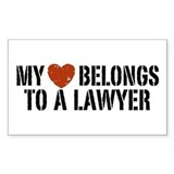 My Heart Belongs to a Lawyer Rectangle Decal