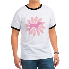 Pink Flower Coonhound Ringer T
