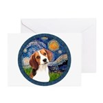 Starry Night Beagle #1 Greeting Cards (Pk of 10)