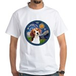 Starry Night Beagle #1 White T-Shirt