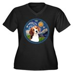 Starry Night Beagle #1 Women's Plus Size V-Neck Da