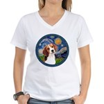 Starry Night Beagle #1 Women's V-Neck T-Shirt