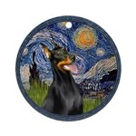 Starry Night Doberman (#1) Ornament (Round)