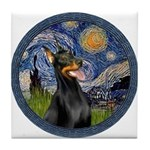 Starry Night Doberman (#1) Tile Coaster