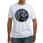 Starry Night Doberman (#1) Fitted T-Shirt