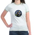 Starry Night Doberman (#1) Jr. Ringer T-Shirt