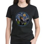 Starry Night Doberman (#1) Women's Dark T-Shirt