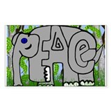 Peace Elephant Rectangle Bumper Stickers
