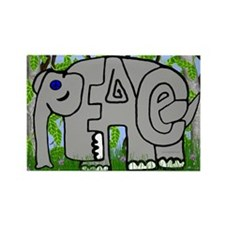 Peace Elephant Rectangle Magnet (100 pack)