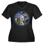 Starry Irish Wolfhound Women's Plus Size V-Neck Da
