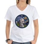 Starry Irish Wolfhound Women's V-Neck T-Shirt
