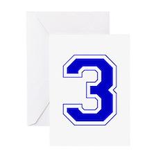 Varsity Font Number 3 Blue Greeting Card
