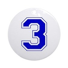 Varsity Font Number 3 Blue Ornament (Round)