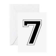 Varsity Font Number 7 Black Greeting Card
