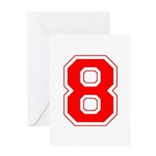 Varsity Font Number 8 Red Greeting Card