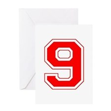 Varsity Font Number 9 Red Greeting Card