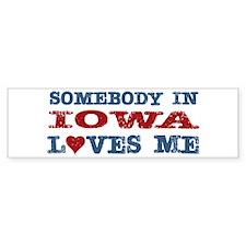 Somebody in Iowa Loves Me Bumper Sticker (10 pk)