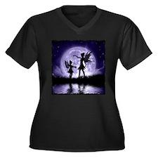 Fairy Sisters Women's Plus Size V-Neck Dark T-Shir