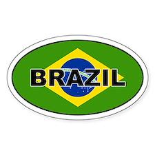 Brazilian Flag Oval Decal