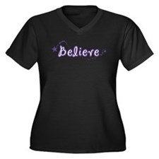 (Purple) Believe Women's Plus Size V-Neck Dark T-S