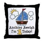 1st Birthday Sailboat Party Throw Pillow