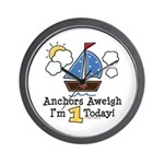 1st Birthday Sailboat Party Wall Clock
