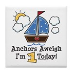1st Birthday Sailboat Party Tile Coaster