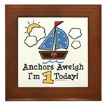 1st Birthday Sailboat Party Framed Tile