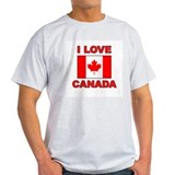 "Canadian Flag ""I Love Canada"" Ash Grey T-Shirt"