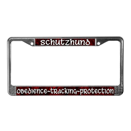 Red Schutzhund License Plate Frame