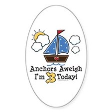 3rd Birthday Sailboat Party Oval Decal