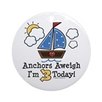 3rd Birthday Sailboat Party Ornament (Round)