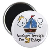 "3rd Birthday Sailboat Party 2.25"" Magnet (100 pack"