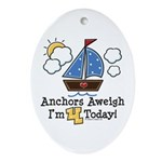 4th Birthday Sailboat Party Oval Ornament