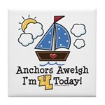 4th Birthday Sailboat Party Tile Coaster