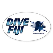 Dive Fiji (blue) Oval Stickers