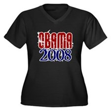 OBAMA Distressed 1 Women's Plus Size V-Neck Dark T