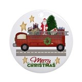 Firefighter/Fireman Christmas Ornament (Round)