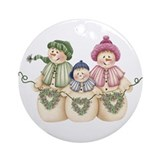 Snowman Family Of 3 Ornament (Round)