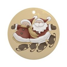 Mr. And Mrs. Santa Claus Ornament (Round)