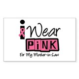 Pink Ribbon Mother-in-Law Rectangle Decal