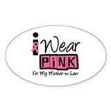 Pink Ribbon Mother-in-Law Oval Bumper Stickers