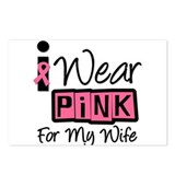 I Wear Pink Ribbon Wife Postcards (Package of 8)