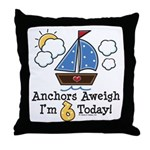 6th Birthday Sailboat Party Throw Pillow