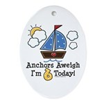 6th Birthday Sailboat Party Oval Ornament