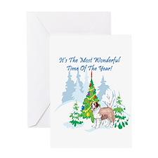 Christmas Time St Bernard Greeting Card