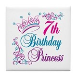 7th Birthday Princess Tile Coaster