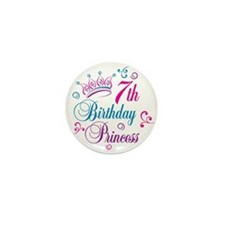 7th Birthday Princess Mini Button